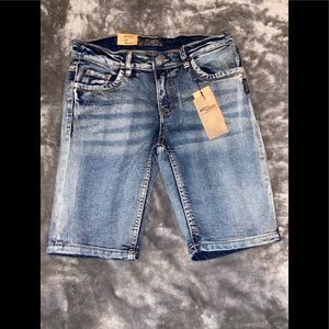 Silver jean shorts / Brand New With Tags